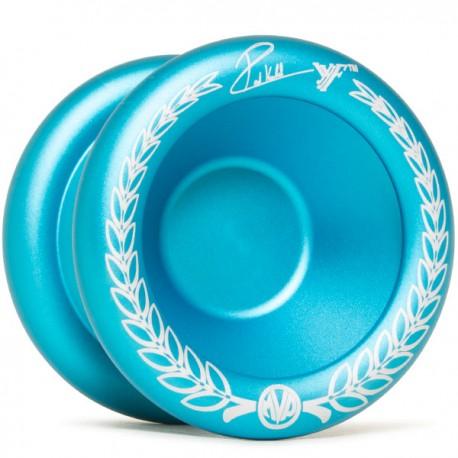 YoYoFactory MVP 3 Aqua / Silver Dip, Engraving - Laurel Wreath Logo