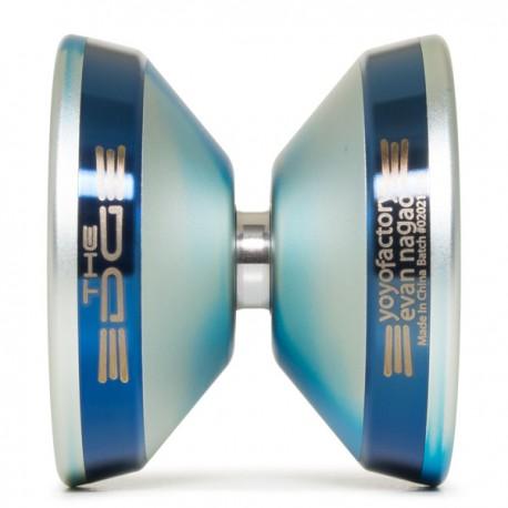YoYoFactory EDGE Aqua/ Silver Fade / Blue Rings SHAPE