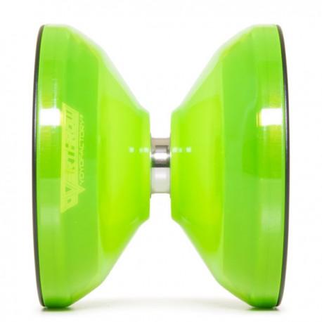 YoYoFactory Overthrow Translucent Neon Green / Black Rims SHAPE