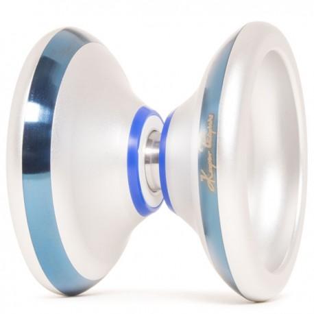 YoYoFactory Flame Silver w/ Blue Rims/Blue Delrin