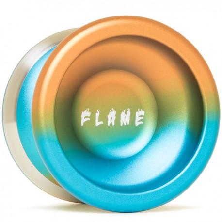 YoYoFactory Flame Aqua/Orange Fade w/ Silver Rims/White Delrin
